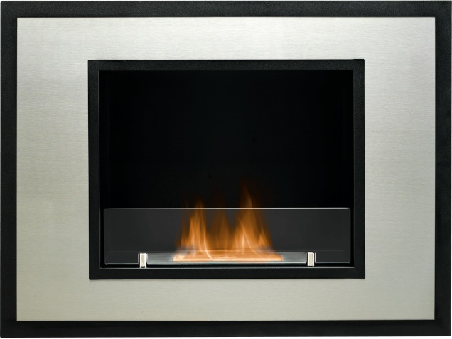 The Cuadro Wall Mounted Bio Ethanol Fire in Black and