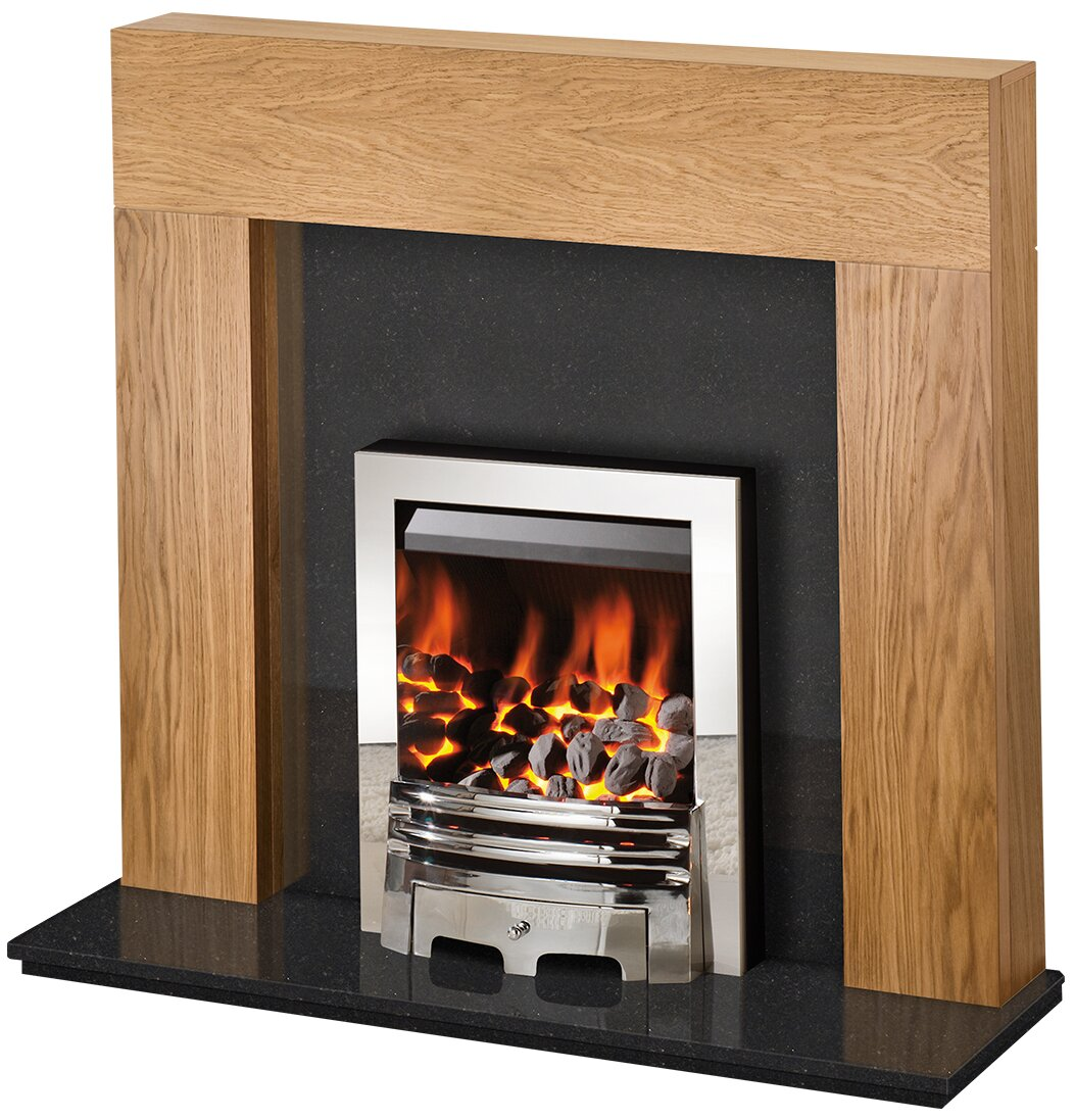 Adam Miami Fireplace Suite In Oak And Black Granite With