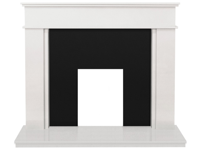 The Portland Fireplace In Sparkly White With Black Granite
