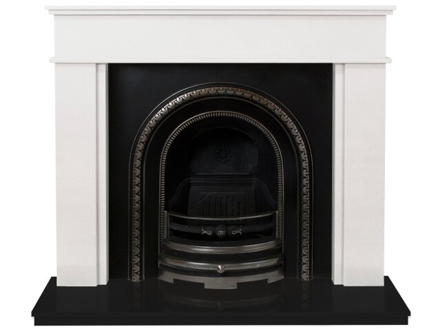 the portland fireplace suite in sparkly white and black. Black Bedroom Furniture Sets. Home Design Ideas