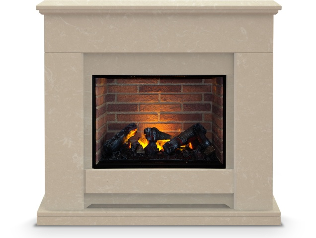 The Camden Fireplace Suite In Roman Stone With Dimplex