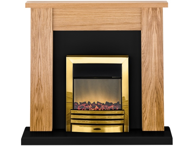 Adam New England Fireplace Suite In Oak And Black With