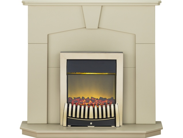 Adam Abbey Fireplace Suite In Stone Effect With Elise