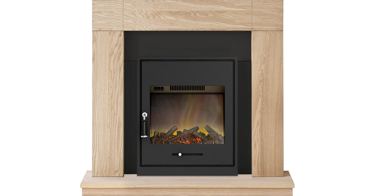 Adam Malmo Fireplace Suite in Oak with Oslo Inset Electric Stove ...