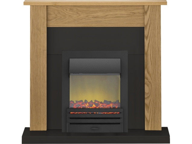 Adam Southwold Fireplace Suite In Oak And Black With