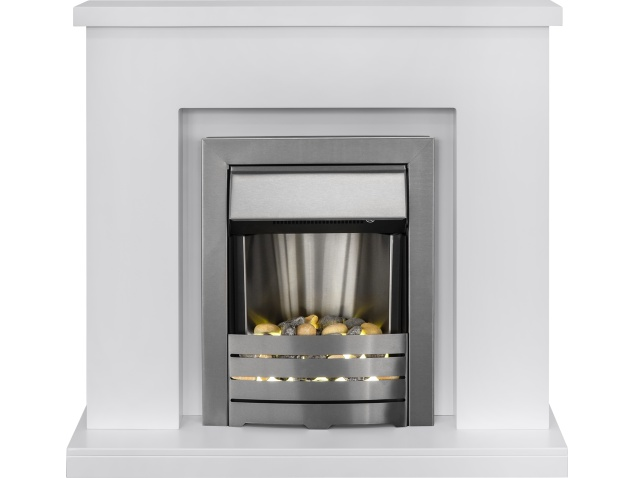 Adam Lomond Fireplace Suite In Pure White With Helios