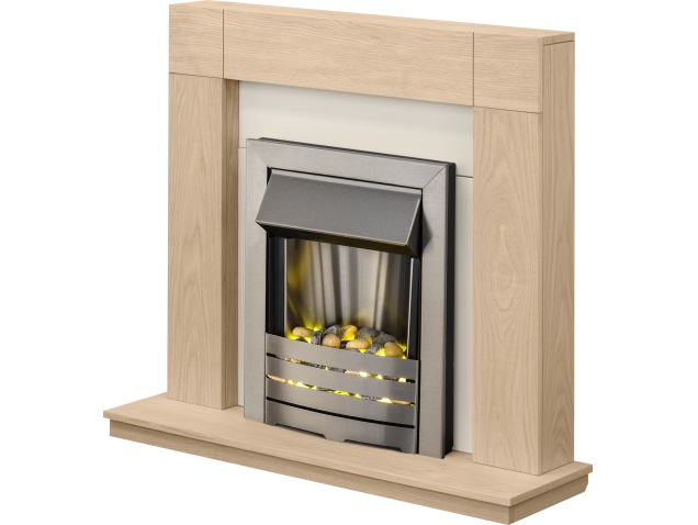 Adam Malmo Fireplace Suite In Oak With Helios Electric