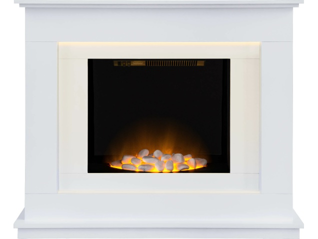 Adam Venetian Fireplace Suite in Pure White, 40 Inch