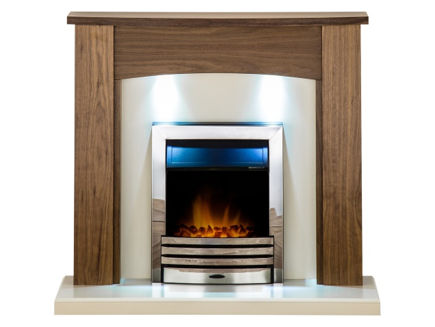 adam stanford fireplace suite in walnut with eclipse electric fire rh fireplaceworld co uk walnut electric fireplace suite walnut console electric fireplace