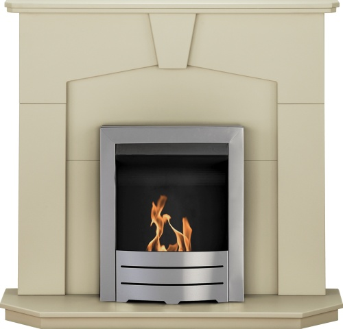 Image of Adam Abbey Fireplace Suite in Stone Effect with Colorado Bio Ethanol Fire in Brushed Steel, 48 Inch