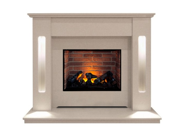 The Hollywood Fireplace Suite In Beige Stone With Dimplex