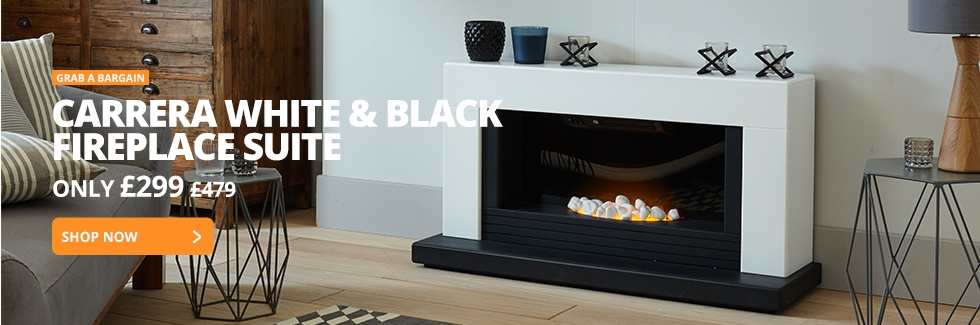 Carrera White & Black Fireplace Suite