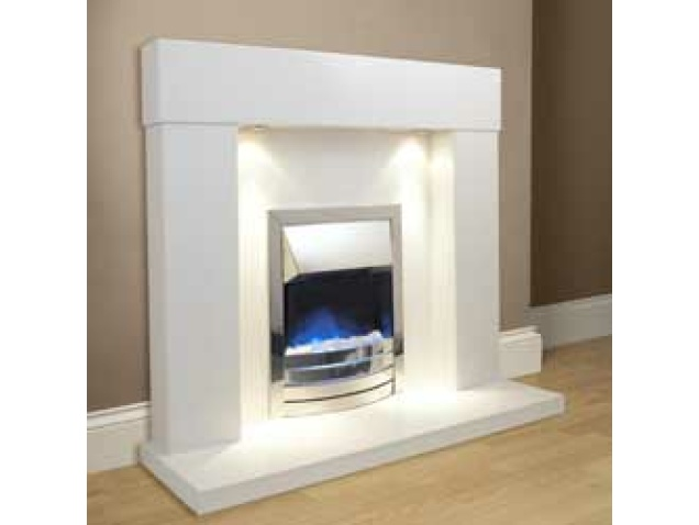 Aurora Bolero Marble Fireplace in China White with lights