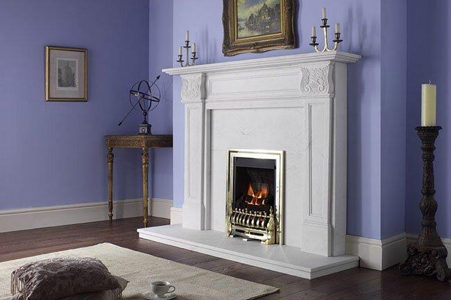 Aurora acantha marble fireplace surround in natural white for White marble fire surround