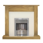 Adam Buxton Fireplace Suite in Oak with Helios Electric Fire in Brushed Steel, 47 Inch