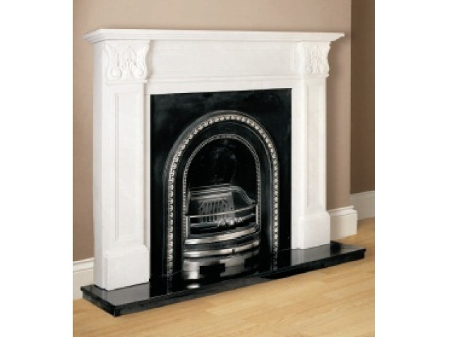 "The Aurora Acantha Marble Fireplace is a complete Natural White marble fireplace surround with a cast back panel and 60"" Black Granite hearth.  With delicately carved foilage and graceful tapering legs the Acantha with the Cast and Black Granite option gives it a stunning traditional look.  Complete with cast"