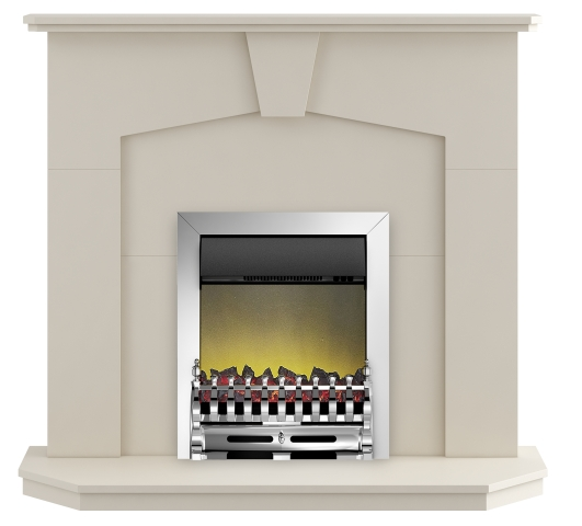 Image of Adam Abbey Fireplace Suite in Stone Effect with Blenheim Electric Fire in Chrome, 48 Inch