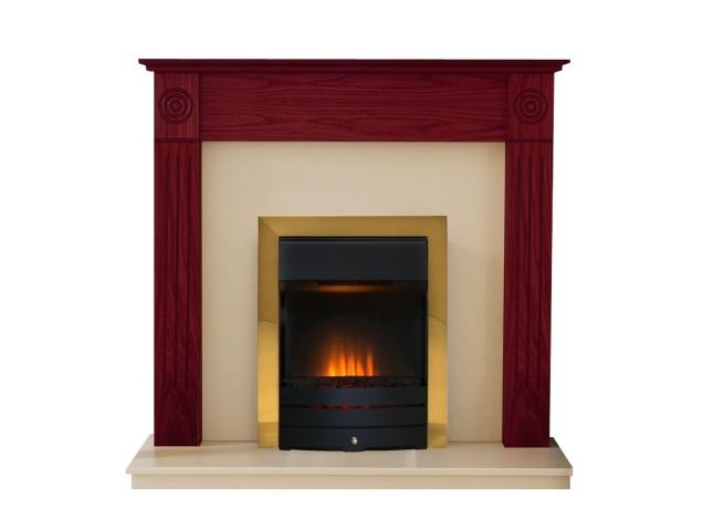 48 newbury mahogany with salisbury brass electric fire fireplace rh fireplaceworld co uk