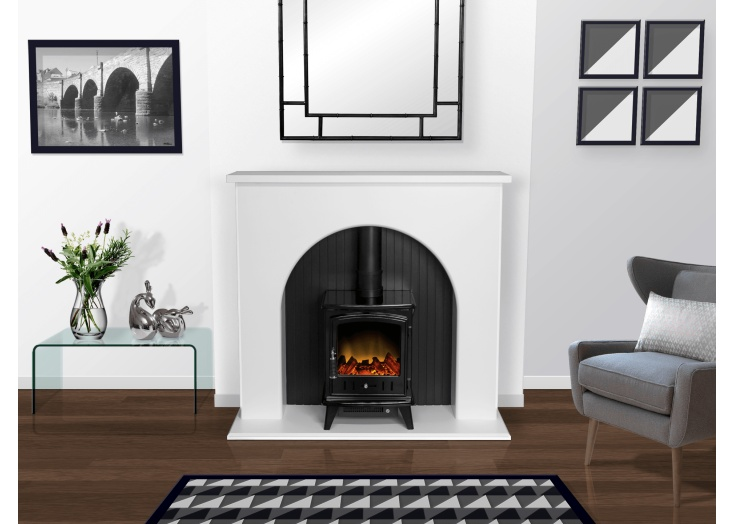 adam kirkham stove suite in pure white with aviemore electric stove rh fireplaceworld ie