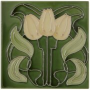 the-tubelined-yellow-flowers-fireplace-tiles-in-green-by-carron-set-of-10