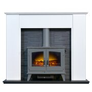 montara-crystal-white-marble-fireplace-with-downlights-woodhouse-electric-stove-in-grey-54-inch