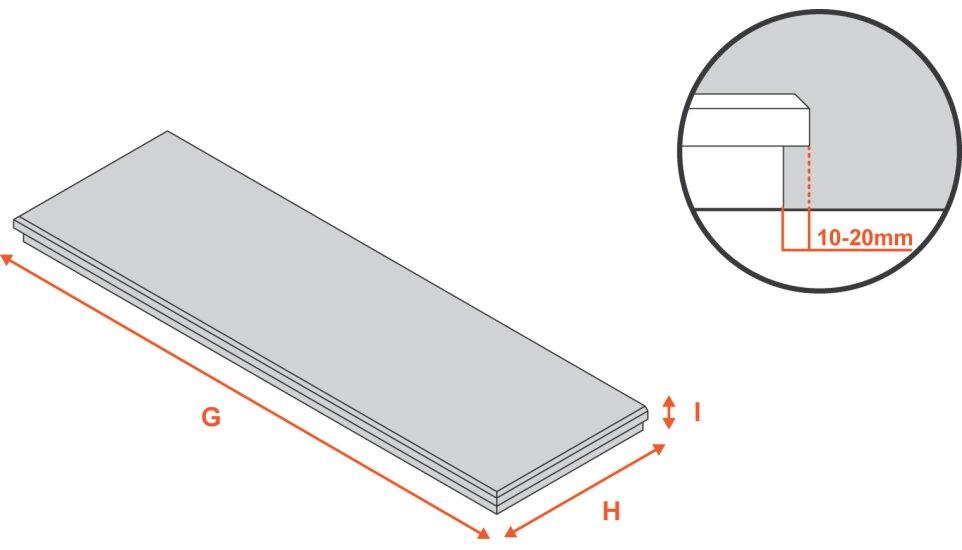 botticino-marble-hearth-54-inch Diagram