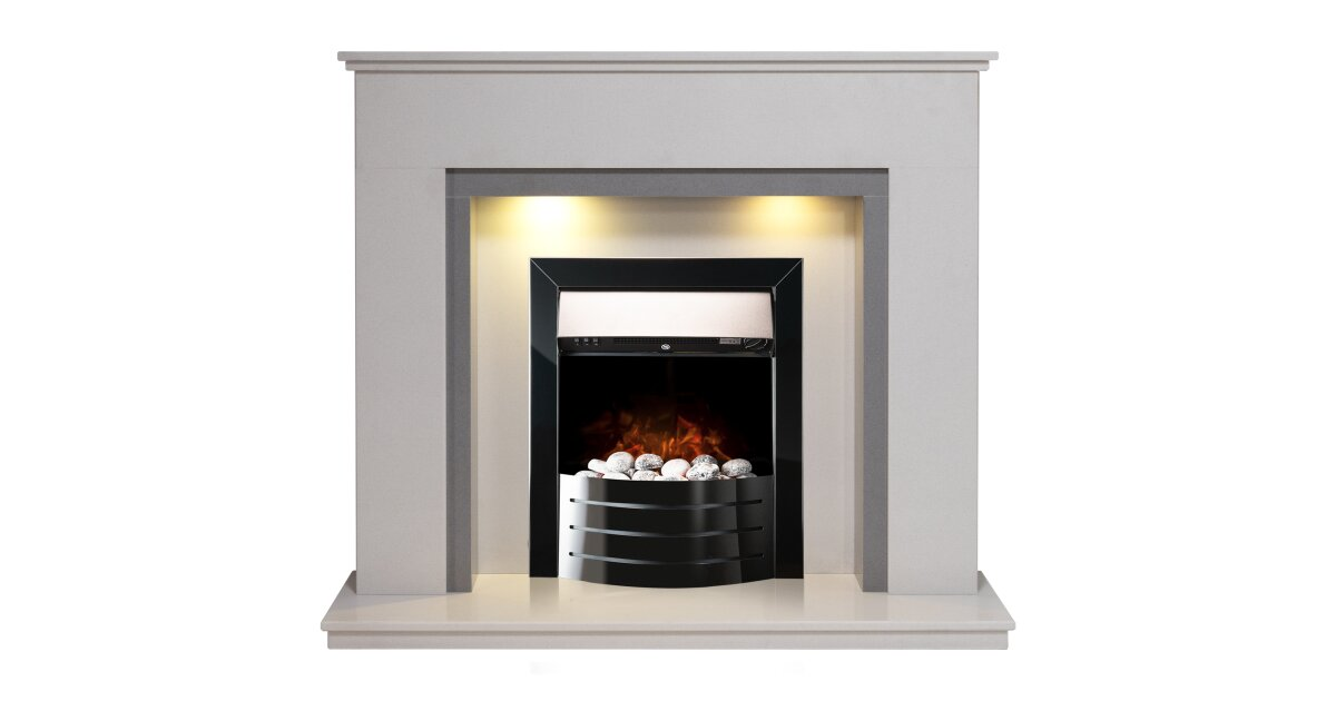 Allnatt White Grey Marble Fireplace With Comet Obsidian Black Electric Fire 48 Inch Fireplace World