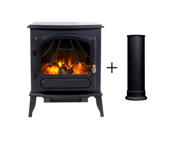 sureflame-es-9330-electric-stove-in-black-with-straight-stove-pipe