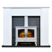 montara-crystal-white-marble-fireplace-with-downlights-woodhouse-electric-stove-in-pure-white-54-inch
