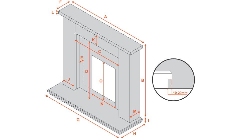 adam-miami-fireplace-in-cream-and-granite-48-inch Diagram