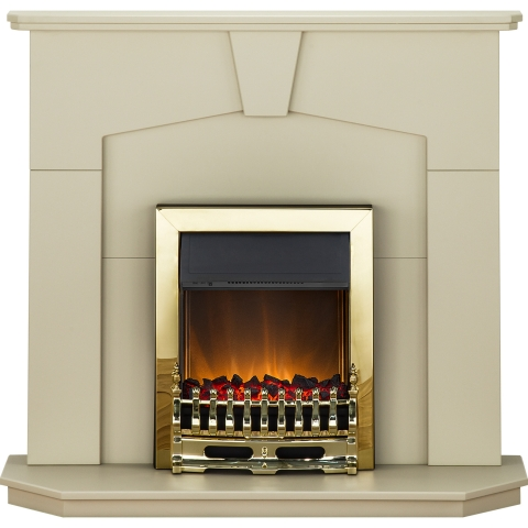 Image of Adam Abbey Fireplace Suite in Stone Effect with Blenheim Electric Fire in Brass, 48 Inch