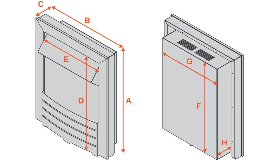 blenheim-inset-electric-fire-in-brass Diagram