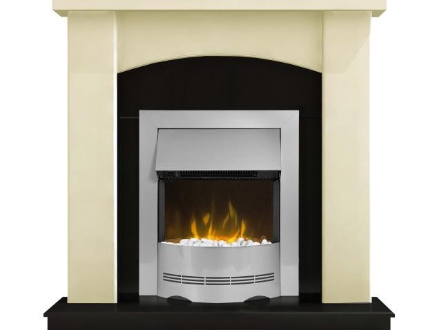 Adam Holden Fireplace Suite In Cream With Dimplex Elda Electric Fire