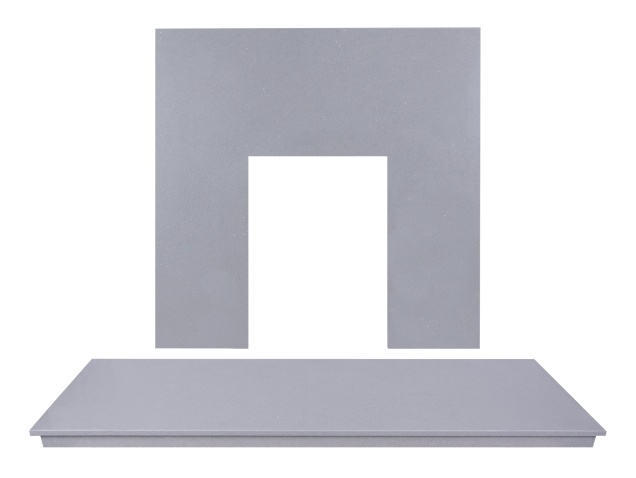 Adam Marble Back Panel And Hearth Set In Sparkly Grey 48