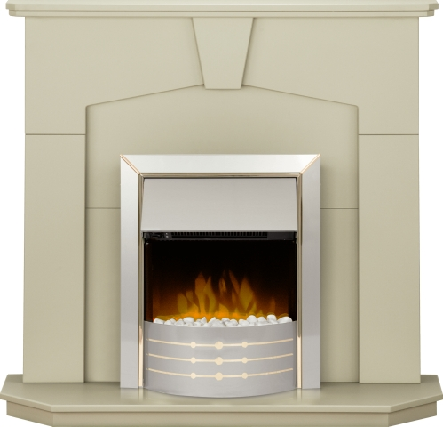 Image of Adam Abbey Fireplace Suite in Stone Effect with Dimplex Aspen Electric Fire in Brushed Steel 48 Inch