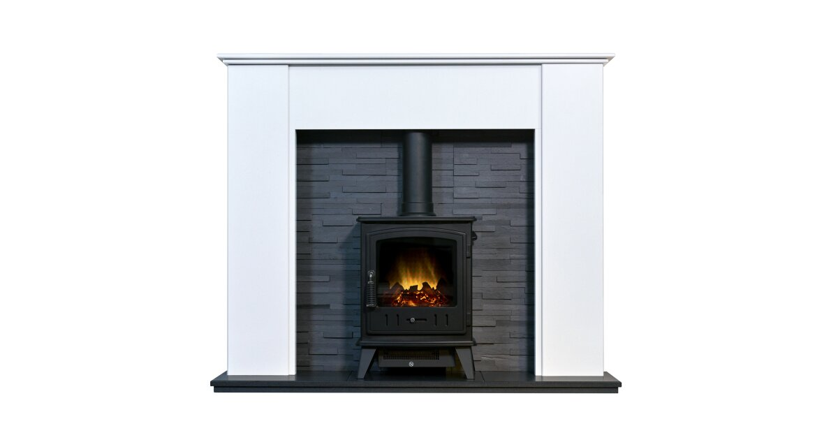 Montara Crystal White Marble Fireplace With Downlights Aviemore Electric Stove In Black 54 Inch Fireplace World