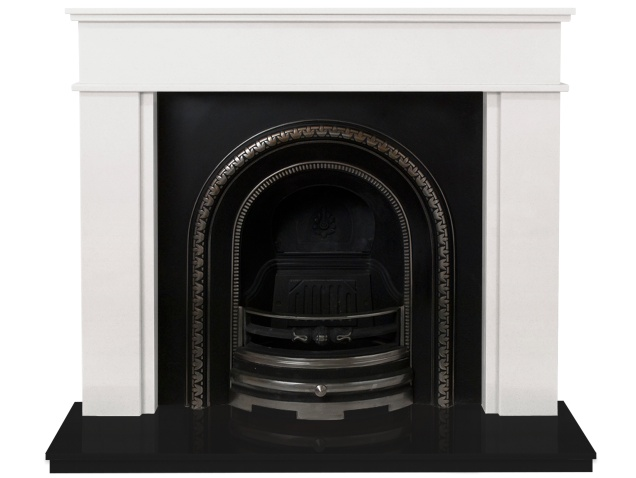 The Portland Fireplace Suite In Sparkly White And Black