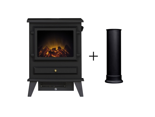 Adam Hudson Electric Stove in Black with Straight Stove Pipe ...