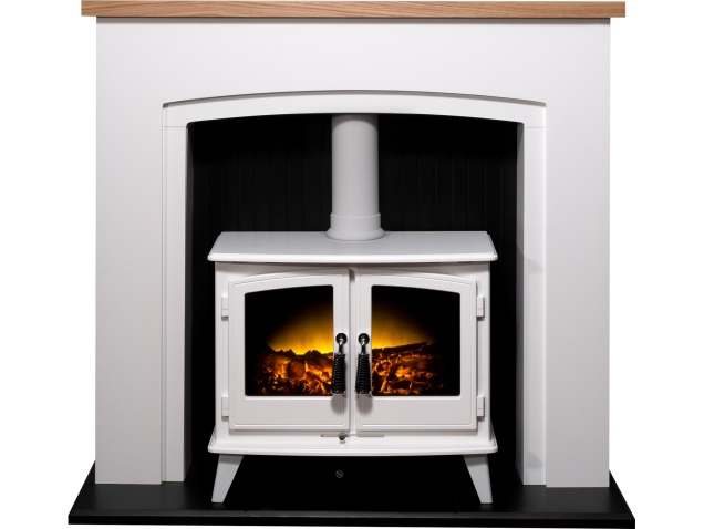 Adam Siena Stove Suite In Pure White With Woodhouse Electric Stove