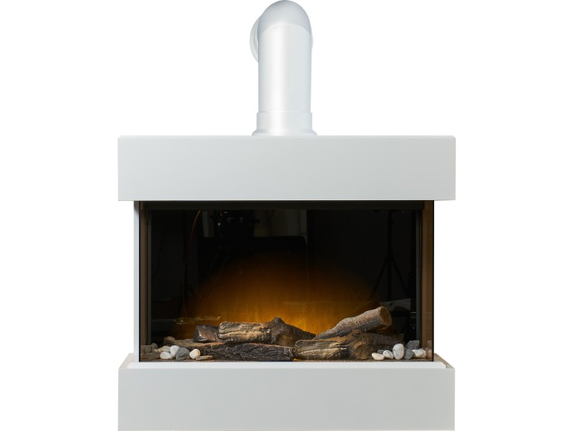 Adam Vega Electric Wall Mounted Fireplace Suite With Stove Pipe In