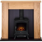 adam-new-england-stove-suite-in-oak-with-aviemore-electric-stove-in-black-48-inch
