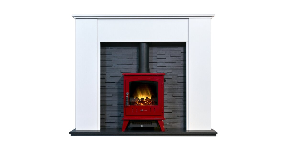 Montara Crystal White Marble Fireplace With Downlights Aviemore Electric Stove In Red Enamel 54 Inch Fireplace World