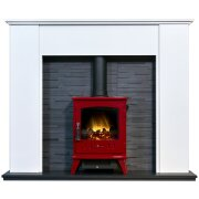 montara-crystal-white-marble-fireplace-with-downlights-aviemore-electric-stove-in-red-enamel-54-inch