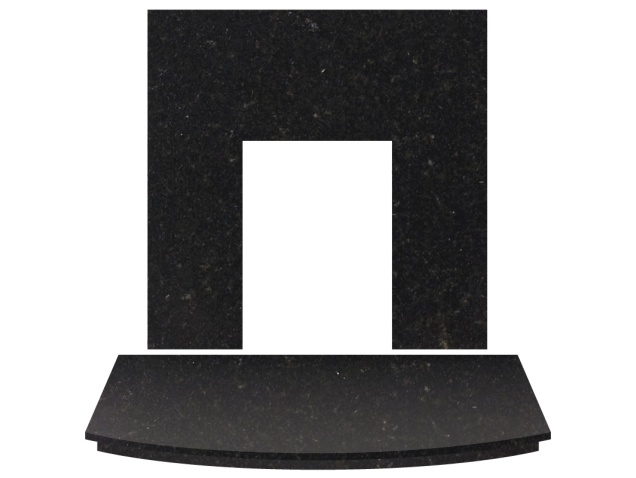 Fireplace Back Panel and Curved Hearth Set in Black Granite, 54 Inch