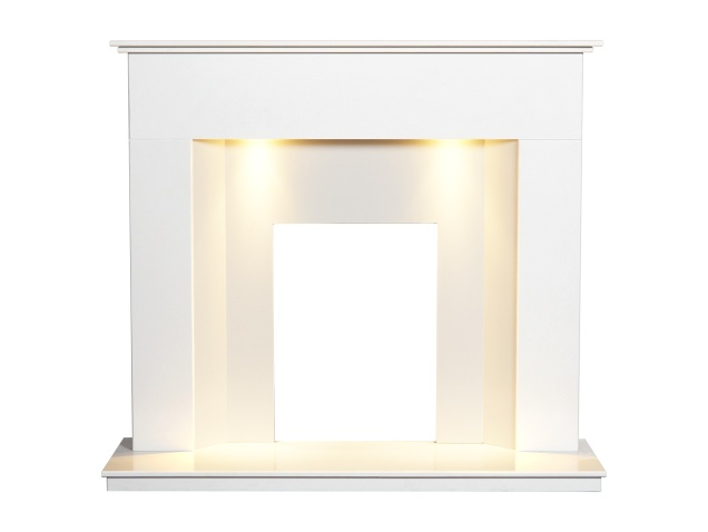 alora-crystal-white-marble-fireplace-with-downlights-48-inch