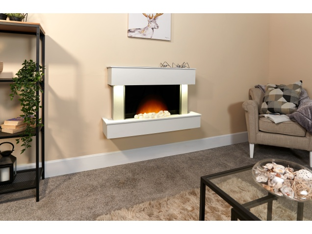 Adam Orion Wall Mounted Electric Fire In Pure White Fireplace World