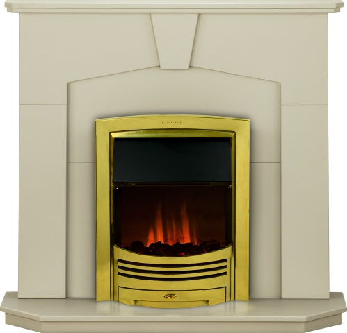 Image of Adam Abbey Fireplace Suite in Stone Effect with Dimplex Adagio Electric Fire in Brass, 48 Inch