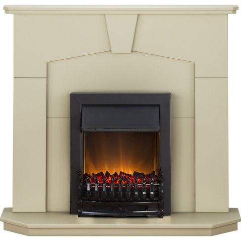Image of Adam Abbey Fireplace Suite in Stone Effect with Blenheim Electric Fire in Black, 48 Inch