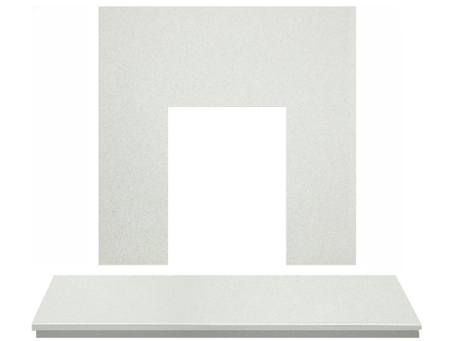 Adam Marble Back Panel And Hearth Set In White Stone 48