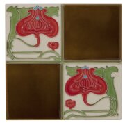 the-tubelined-quarter-flower-fireplace-tiles-in-brown-and-cream-by-carron-set-of-10
